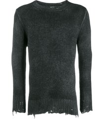 avant toi destroyed knit sweater - black