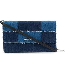 diesel patchwork denim purse - blue