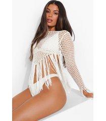 gehaakte gerafelde strand top, white