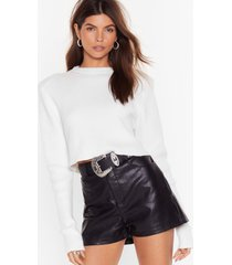 womens faux leather let you go high-waisted shorts - black