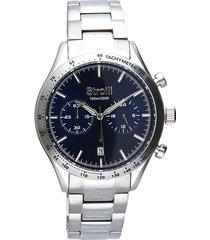 orologio cronografo cinturino e cassa in acciaio silver, quadrante blu per uomo