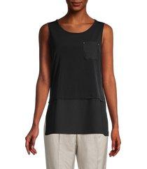 calvin klein women's sleeveless split-hem top - black - size s