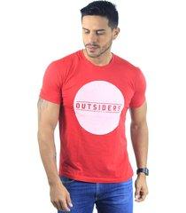 camiseta hombre manga corta slim fit rojo marfil outsiders