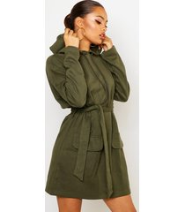 utility patch pocket drawcord sweat dress, olive