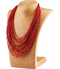 vintage collana bohemien per maglia con fiocchi e rosari a multistrati