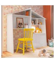 estante multiuso infantil art in móveis ei3070 carinho com baú branca