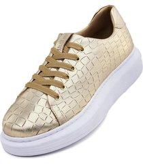 tãªnis sapatãªnis feminino de couro confort classic dourado - dourado - masculino - couro - dafiti