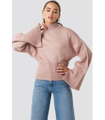 na-kd trend open sleeve knitted sweater - pink