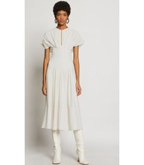 proenza schouler textured crepe fitted waist dress ecru/white 2