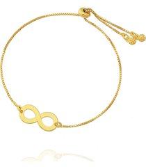 pulseira dona diva semi joias infinito ajustável dourada