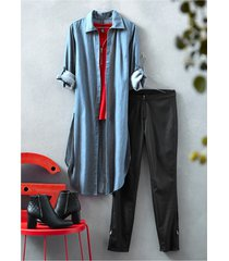 camicia lunga con spacchi laterali (blu) - rainbow