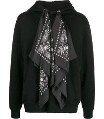 mastermind world scarf skull hoodie - black
