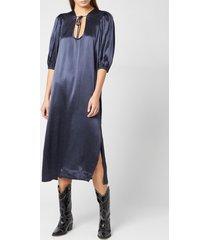 ganni women's heavy satin dress - total eclipse - eu 34/uk 6