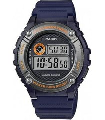 reloj digital hombre casio w-216h-2b - azul con naranja