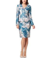 tahari asl floral-print pencil-skirt suit
