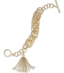 inc gold-tone multi-ring & chain tassel toggle bracelet, created for macy's