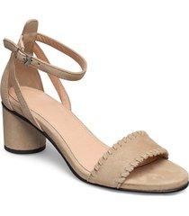 slfmerle new suede high heel sandal b sandal med klack beige selected femme