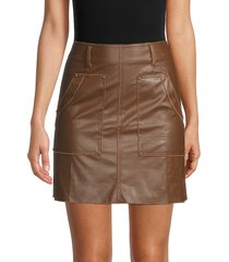 70/21 women's faux leather skirt - dark brown - size l
