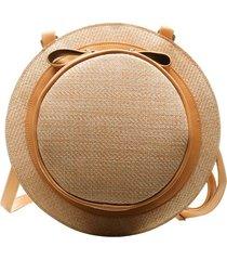 bolsa mochila artestore em tecido malha entrelaçado forma de chapéu caramelo