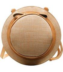bolsa redonda artestore em tecido malha entrelaçado forma de chapéu caramelo