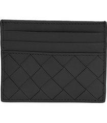 bottega veneta intrecciato leather card case - black