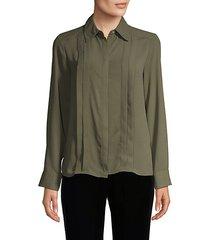 pleated long-sleeve shirt