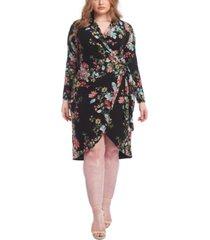 rachel rachel roy trendy plus size floral-print knot front jersey dress