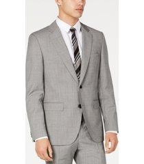 hugo hugo boss men's slim-fit light gray crosshatch suit jacket
