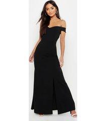 petite bardot split fish tail maxi dress, black