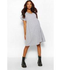 positiekleding gesmokte jurk met v-hals, grijs gemêleerd