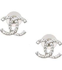 chanel cc rhinestone pushback earrings silver sz: