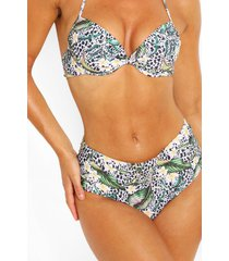 mix & match tropisch dierenprint bikini broekje met hoge taille, wit