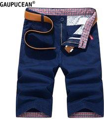 pantalones cortos casual de algodón gaupucean para hombre-armada