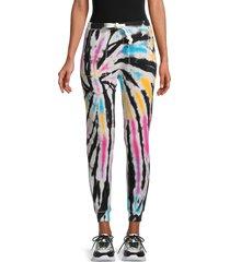 vintage havana women's burnout tie-dye fleece joggers - pastel sub - size l