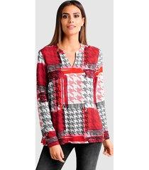 blouse alba moda rood::wit::zwart