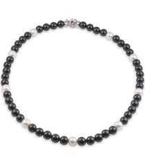 alor women's stainless steel, 6-8mm freshwater pearl & black onyx necklace