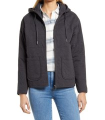 caslon(r) women's quilted zip-up hooded knit jacket, size medium in grey dark charcoal heather at nordstrom