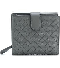 bottega veneta light gray intrecciato nappa mini wallet - grey