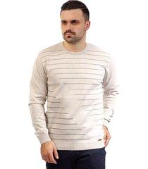 blusa de malha listrada sumaré 10417 bege