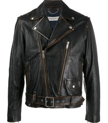 golden goose studded biker jacket - brown