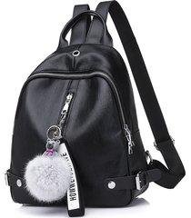 mochilas/ mochila de cuero para mujer mochila sólida-negro