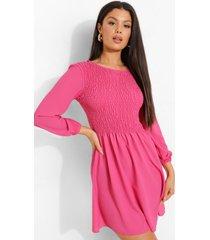 gesmokte jurk met driekwartsmouwen, hot pink