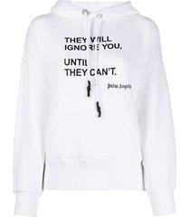 palm angels statement-print oversized hoodie - white