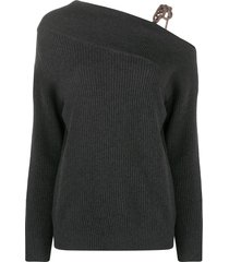 brunello cucinelli one-shoulder braided sweater - grey
