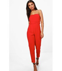 bandeau tailored woven slim fit jumpsuit, poppy