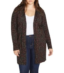 plus size women's sanctuary lenox open front cardigan, size 2x - brown