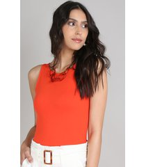 body feminino alça larga decote redondo laranja