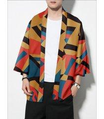 hombres casual color block geometric multicolor kimono sunscreen coat cardigan