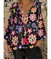 camicetta estiva a manica lunga v collo floreale con stampa casuale