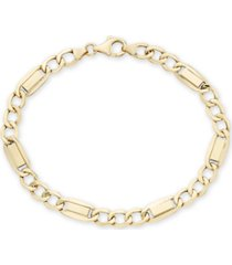 """men's fancy 3+1 figaro link 8.5"""" bracelet in 10k yellow gold"""